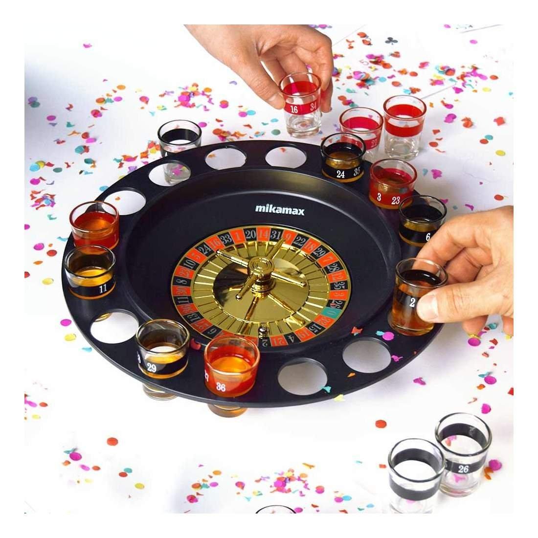 GOODS+GADGETS Drinking Ludo Spiel Partyspiel f/ür Erwachsene W/ürfel /& 16 Shotgl/äser lustiges Trinkspiel